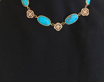 Turquoise  and Clover  Necklace by Dobka