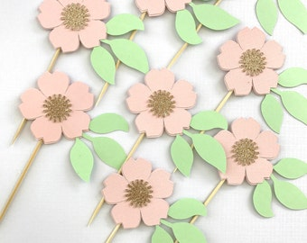 Flower Cup Cake Toppers / Set of 12 / Cupcake topper / Cake topper/ Floral / Princess Party / Tea Party / Baby Shower / Wedding