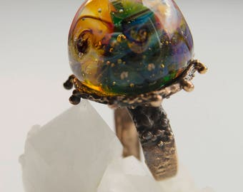 "Ring ""In the depths of the sea"". Large lampwork ring. Universal size."