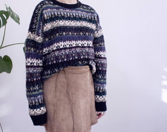 hand knitted wool woolen sweater pattern 90's 80's festival winter warm