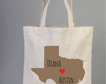 Destination State Wedding Map, Welcome Tote Bag, Destination wedding, Texas wedding, Tote bags, Cotton tote, Wedding Favor, Personalize
