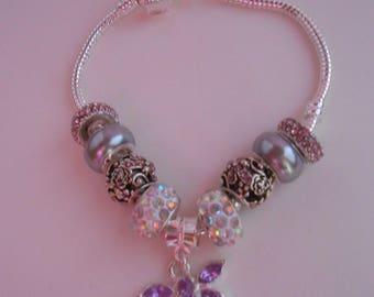 Purple and Pink Butterfly Bracelet