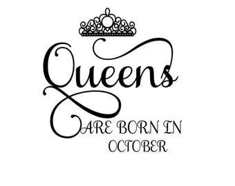 Queens are Born in October SVG Crown