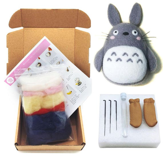 Totoro Felting Kits for Needle Starter - 3 Needles, 1 Pair Leather Gloves, 1 Foam Mat, 1 Tutorial