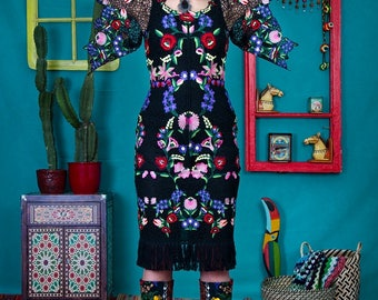 Rosa Maria - unique handmade designer dress by NYMF, black guipure lace dress with colourful mexican flower embroidery, glam boho chic hippy