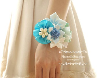 Aqua Blue, Weddings, Corsage, Wristband, Wrist Corsage, Bride, Bridesmaid, Mother, Prom wristband, Prom corsage