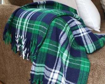 SALE: Vintage Faribo Green & Blue Plaid Throw - Excellent Condition