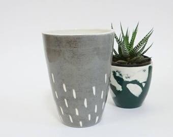 Gray Handleless Mug - Ceramic Coffee Mug - Tea Mug - Coffee Lovers Gift - Handmade Tea Cup - Ceramic Tumbler - Housewarming Gift