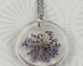 Purple Queen Anne's Lace Resin Necklace