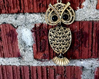 Vintage 1970's Articulated Owl Pendant Necklace by Coventry