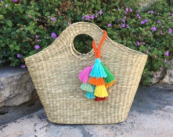 """Straw bag """"Madeleine"""" with colourful tassels"""