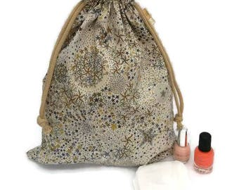 Lingerie bag, lingerie, shoe bag pouch, accessory travel pouch bag, Liberty Adelajda DrawString taupe stars