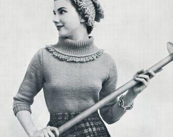 Fringe Turtleneck Sweater & Hat - 1950s Knitting Pattern