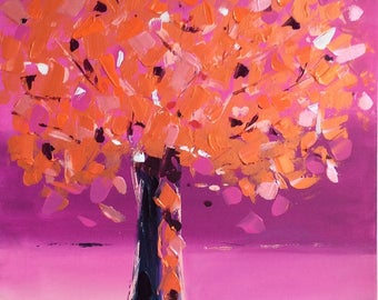 Painting - abstract tree painting - colorful tree painting modern original tree
