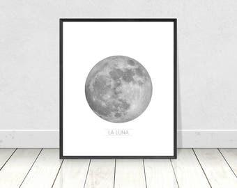 Moon Print, Celestial Print, La Luna Print, Moon Wall Art, Printable Art, Black and White,Full Moon,Moon Poster,La Luna Wall Art,Moon Decor