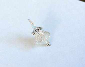 Set of 2 matted charm/pendant, Crystal and silver Czech glass flower