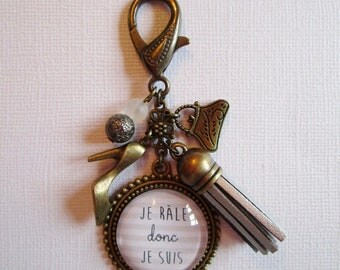 """Bitch I am I"", bag charm bronze cabochon, costume jewelry"