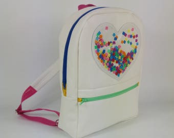Backpack child heart confetti