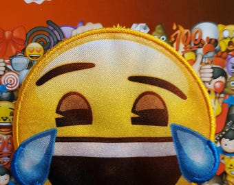 Applique patch iron pattern emoji crying laughing