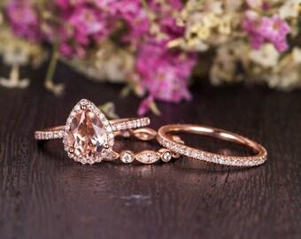 Pear Cut Morganite Bridal Set Rose Gold Engagement Ring Diamond Retro Anniversary Wedding Band Women Antique Peachy Art Deco Set 3 pieces