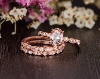 Oval Cut Rose Gold Engagement Ring Art Deco Antique Morganite Ring Halo Diamond Women Antique Unique Wedding Band Stacking Retro Gift 3pcs