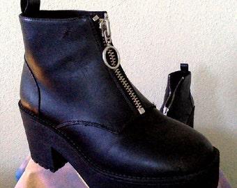 Black Grungy Platform Boots