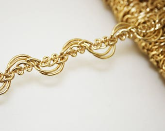 Gold braid passementerie trim, 1 m Gold Ribbon 13 mm