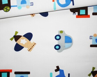Car, train, helicopter, 100% cotton fabric printed 50 x 160 cm white vehicles