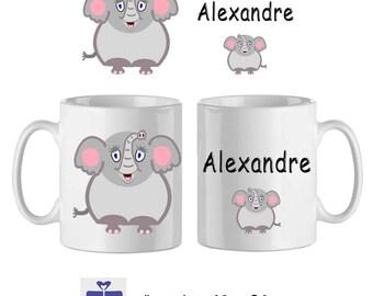 Mug ceramic Elephant with name (ex. Alexander)