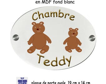 Personalize a door plate Teddy bear with a name (e.g. Teddy)