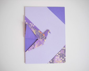 Card crane origami mauve all occasions