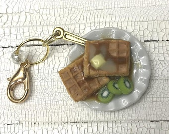 Waffles and Kiwi Polymer Clay Charm | Knitting Accessory | Crochet Accessory | Miniature Food | Progress Keeper | Knitting Stitch Marker