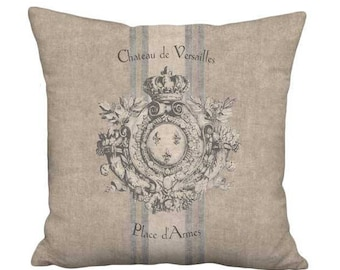12x12 Inch - READY TO SHIP - Small Pillow with Insert - Heraldry French Country Grain Sack Style Rustic Château de Versailles