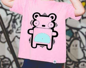 Kids T-Shirt Teddy Bear / Cute Teddy Bear  print  blue or pink T-shirt for children / Cotton kids T-shirt