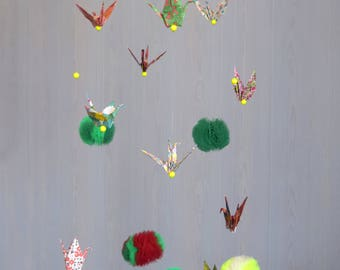 Origami crane and tulle Pompom baby mobile