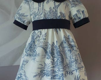 dress retro ceremony toile de jouy blue flexible 2 years