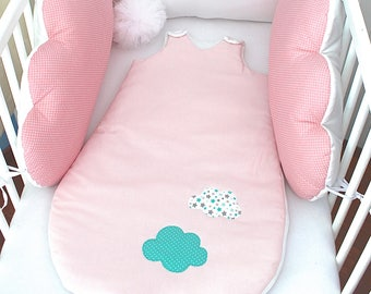 Sleeping bag 6 to 20 months, pink powder, white and green of water