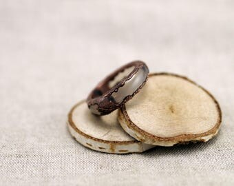 White chalcedony band ring, solid stone ring, chalcedony ring, agate ring, copper electroformed ring, 7 1/4 US