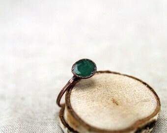 Cut Emerald Ring, Electroformed emerald copper ring, , green beryl ring, raw stone ring, 7 US