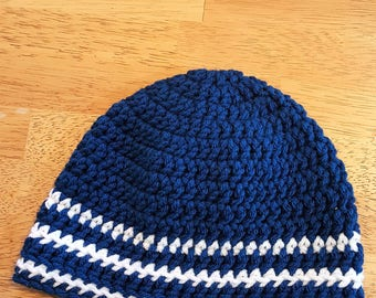 Blue and White Beanie