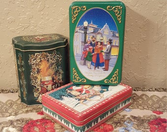 Set of 3 small vintage Christmas tins.  Great as gift, display or as a gift box for 2 gifts in one!