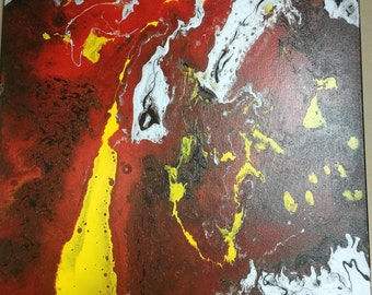 Lava - Modern Contemporary Abstract Painting on Stretched Canvas 24 x 24