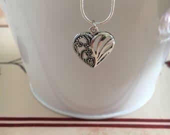 Pretty Silver Heart Necklace