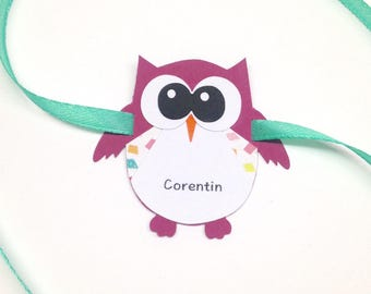 Brand instead sold individually, personalized OWL on request! Dimensions: 5.5 by 5.5 cm paper 210g and 40cm Ribbon