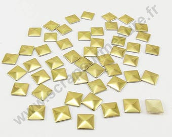 Square Thermo - Golden - 3mm - x 100pcs