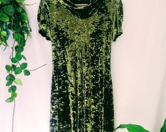 Moss Green Crushed Velvet Dress