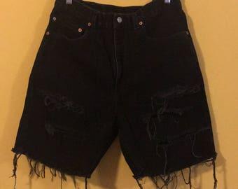 Levi distressed black bermuda shorts