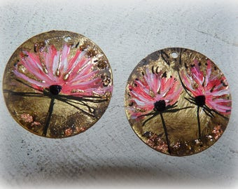 Yet rose gold 30 mm-prints-Asian charms craft painting flowers-brass