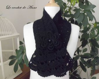 Black, adorned with a flower scarf brooch!