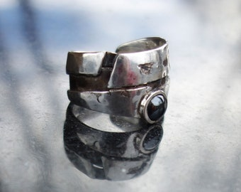 Silver ring, woman ring, big ring, big ring, hematite, woman ring hematite men's ring, 925 Silver ring, sterling silver ring